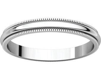 Sterling Silver Milgrain Wedding Ring Made To Order 2.5mm Wide