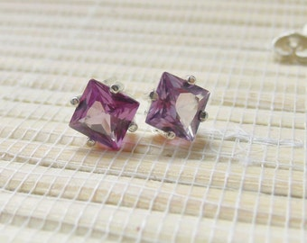 Alexandrite Princess Cut Stud Sterling Silver Earrings June Birthstone