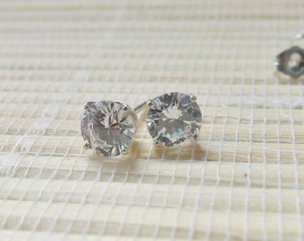 Cubic Zirconia Stud Earrings Sterling Silver April Alternate Birthstone 6mm