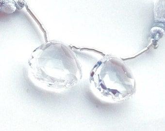Large Faceted Clear Crystal Quartz Briolette Pair - 18mm