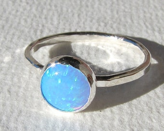 Blue Opal Sterling Ring, 8mm Blue Opal, Lab Grown Opal, Opal Stack Ring