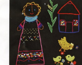 """20% Off African Folklore Embroidery Kit - This is a Kit not the finished Item! Kit #AF-23 Village Girl With Chickens  Size: 11.5"""" X 11.5"""""""