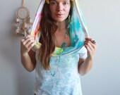 Floral Print Tie Dye Hood...