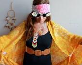 Batik Dolphin Print Bohemian Fringe Festival Shawl Sweater Jacket Batwing Kimono Bell Sleeve Doily Yoga Beach Cover Up Orange Yellow Womens