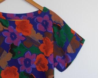 flower pop...vintage fabric loose fit blouse