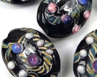 Lampwork Handmade Glass Black Lace Oval Beads (5) (L1175)
