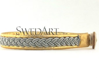SwedArt B12 Sami Lapland Leather Bracelet Pewter Braid Antler Button Gold XX-SMALL