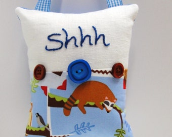Shhh pillow- doorknob pillow hand embroidered in blue on ivory linen with raccoon on a branch and owls