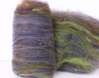Smoke Bush 3.4 oz  Wool - Merino- Art Batt // Wool Art Batt for spinning or needle felting