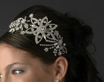 Crystal wedding headband bridal headband tiara floral flower crystal wedding bridal hair accessories