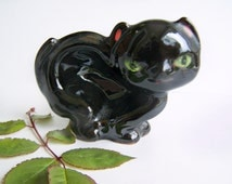 Vintage Redware Black Cat Figural Ashtray 1950s Novelty Smoking Accessories Small Ash tray Kitten with green eyes Cold paint details