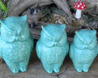 3 detailed  ceramic Owls  - Family in  Turquoise  Mother Father and baby Hooter