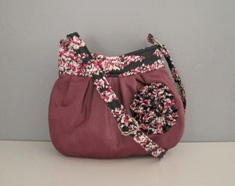 Small shoulder handbag handmade in purple polka dot with ruffle flower embellishment, cross body purse