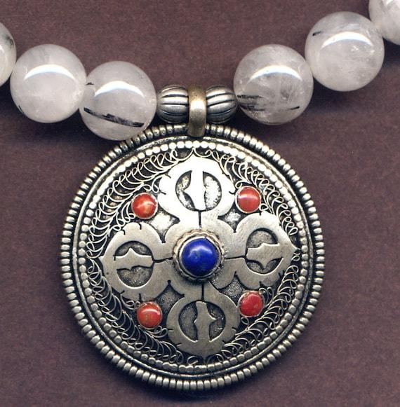 Mandala Pendant, Double Dorje Pendant, Snow Quartz Necklace, Good Luck  Talisman, Nepal Jewelry  by AnnaArt72
