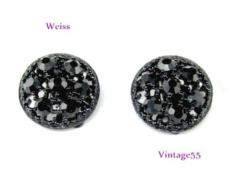Weiss Earrings Black Rhinestone clip on