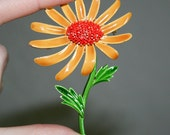 Coro Orange Daisy Brooch
