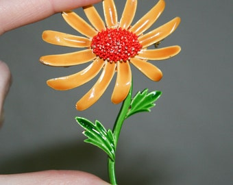 Coro Orange Daisy Brooch
