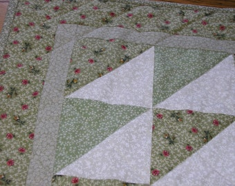 Quilted Table Runner or Wall Hanging, Soft Green Table Topper, 19 x19 inches