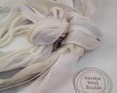 Hand Dyed Silk Ribbon - Silky Ribbon - Fairy Ribbon - Jewelry Supplies - Wrap Bracelet - Craft Supplies - Wedding White Ivory Gray Palette