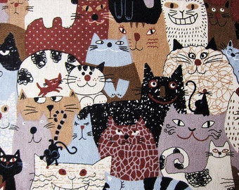 Japanese Fabric Cotton Linen Blend - Animal Print Fabric - Assorted Cats in Brown and Gray - Fat Quarter