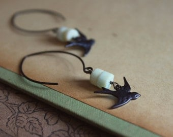 Skysail. Romantic Bohemian Antiqued Brass Swallow and Peruvian Opal Earrings.