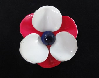 Vintage Americana Flower Enamel Brooch- Red, White, & Blue Metal Pin, Patriotic American Jewelry- 4th of July