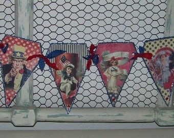 Patriotic Decoration July 4th Memorial Day Patriotic Americana Banner Garland Vintage Style