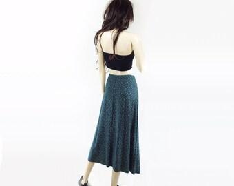 90s Floral Skirt, Midi A Line Skirt, Floral Midi Skirt, Teal Green Skirt, Floral 90s Skirt, Emerald Green Floral Skirt, m