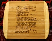 NEW SIZE Recipe scanned from Mom's or Grandma's handwriting - Large Bamboo Cutting Board + Laser Engraved Recipe - Personalized 13.5 x 11.5