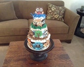 Woodland Theme Diaper Cake Baby Shower Centerpiece Owl other colors and sizes two