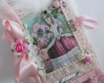 Marie Antoinette Journal, French Theme Notebook, Paris Mini Journal, Rose Book, Shabby Lace Book