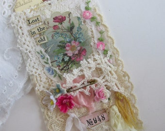 French Gift Tag, Shabby Tag, Mixed Media Tag, Lace Gift Tag, Vintage Wedding Tag