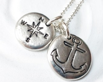 Anchor and Compass Motivational Necklace - Nautical Jewelry - Inspirational Jewelry - Motivational Jewelry - Gift for Her