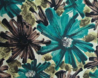 Vintage Abstract Floral Print Fabric Teal Black Green