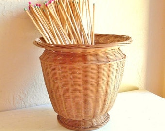 Vintage Woven Basket Planter Natural Great Condition