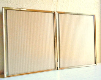 Three 3 Matching Folding 8x10 Gold Metal Picture Frames with Glass Wedding Decor Family Pictures