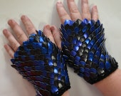 Scale Mail Gauntlets in blue and black, choose your size Dragonhide Armor