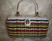 Vintage Multi Color Straw Purse by BB Made in Hong Kong