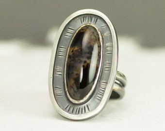 Montana Agate Ring - Sterling Oval Stone Statement Ring