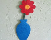 Metal flower sculpture vase home wall decor reclaimed metal art blue