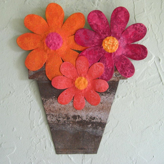 sale metal flower pot wall art handmade recycled metal wall. Black Bedroom Furniture Sets. Home Design Ideas