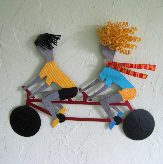 Metal Wall Art Tandem Bicycle Sculpture Recycled Metal Male Female Bike Duo Sport Figure Wall Decor Cycling Art Blonde Red Yellow 15 x 18