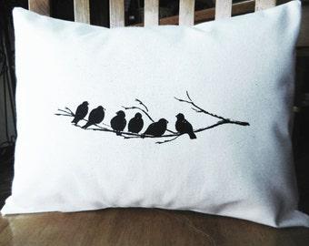 """Bird Pillow Cover, Birds on a Branch Pillow, Decorative Bird Pillow, Bird Cushion Cover, fits 12 x 16"""" insert"""