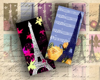 INSTANT DOWNLOAD Digital Collage Sheet Eiffel Tower Images 1 X 2 Squares for your Artwork - DigitalPerfection digital collage sheet 054