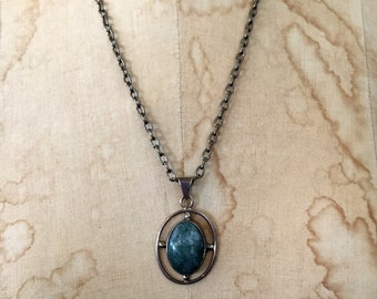 Vintage MOSS AGATE Sterling Silver Southwestern PENDANT Chain Necklace Modern Crystal Gem Necklace