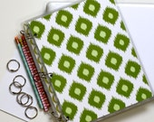 Three Ring Planner Cover, 9 x 11, Modern Ikat, Green