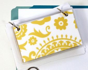 3 x 5 Index Card or Note Card Binder, Yellow Suzani