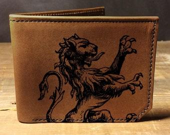 wallet - leather wallet - mens wallet - Lion wallet- 025