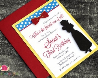 Snow White Birthday Party Invitations · A2 LAYERED · Red Yellow Royal Blue · Fairy Tale | Princess | Baby Shower