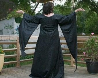 Maleficent Guinevere Black Jacobean Flocked Velvet Gown Roman Medieval Renaissance Fantasy Garb READY TO SHIP